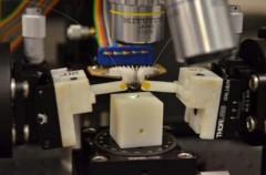Un microchip que contiene tanto fotónica como electrónica se prueba en el laboratorio del investigador Milos Popovic de la Universidad de Colorado-Boulder. Foto por Casey Cass , CU -Boulder .