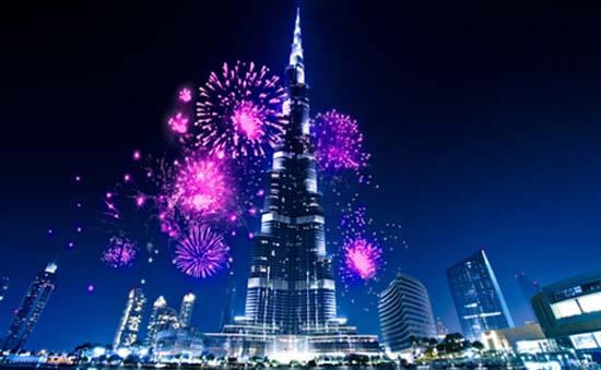 mayor fachada iluminada con LED-Dubai- Burj Khalifa- pantalla LED-LED