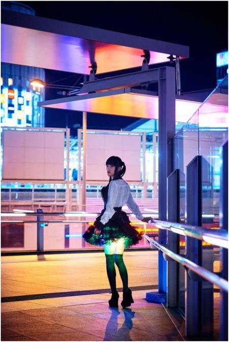 Amano- falda- LED- iluminación-japonés