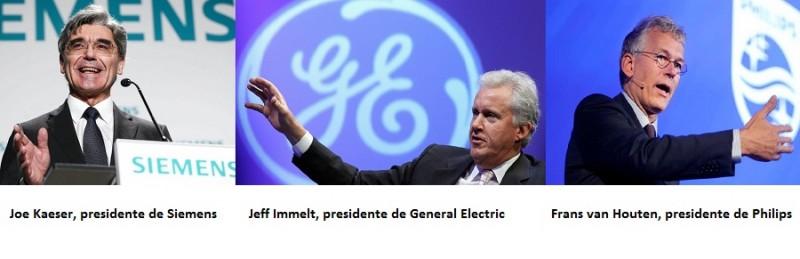 Joe Kaeser, Siemens; Jeff Immelt, GE; Frans van Houten, Philips;