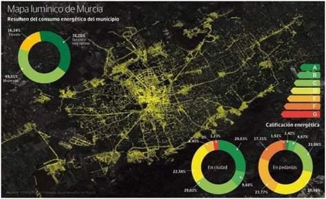 mapa lumínico- Murcia- iluminación-Roque Ortiz- alumbrado