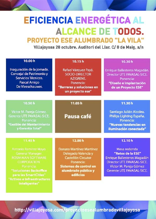 eficiencia energética- alumbrado-Villajoyosa- ESE- jornada-SICE- PAVASAL-