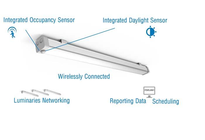 El sistema inteligente de iluminación está basado en proporcionar luz única y exclusivamente en el momento y en el lugar necesario así como la intensidad deseada. Ahorros económicos de hasta el 90% frente a los sistemas de iluminación convencional garantizando unos niveles de iluminación óptima. El futuro de la iluminación es la utilización de tecnología LED, no solo por su bajo consumo y su alta intensidad de luz, si no por su capacidad de dimerización, pudiendo emitir distintas cantidades de luz dependiendo de las necesidades específicas de cada zona. Intel Lumen ha desarrollado un sistema inteligente de iluminación integrando la tecnología LED con comunicaciones inalámbricas y un software de control en un producto que reduce los costes energéticos un 90%. Las luminarias inteligentes de Intel Lumen cuentan con un módulo compuesto por: sensor de movimiento, sensor de luz natural, detector de CO, software de control y comunicación inalámbrica. Gracias a este módulo inteligente las luminarias son capaces de emitir la luz necesaria en cada momento: -Sensores de movimiento: una vez detectan presencia aumenta la intensidad lumínica de la luminaria durante el tiempo que haya sido configurado en el software. Permite una gran reducción del consumo energético manteniendo las luminarias con niveles lumínicos muy bajos, o incluso, apagadas hasta la detección de movimiento.  -Sensores de luz natural: las luminarias disminuirán o aumentarán sus intensidades lumínicas en función de la cantidad de luz natural que detecten en sus instalaciones. A medida que aumente la cantidad de luz natural la intensidad lumínica de las luminarias disminuirá, consiguiendo importantes ahorros adicionales frente a otros sistemas de iluminación LED. -Comunicación inalámbrica: permite la comunicación del software de control con cada luminaria centralizando el control de las instalaciones lumínicas. El sistema, desarrollado íntegramente en España, puede realizar un control de las luminarias una por un
