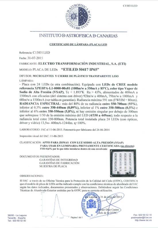cielos nocturnos - astronómico - luminarias - módulos - placas – LED - ETI - certificada - IAC -ETILED -ETILED AMBAR -VSAP