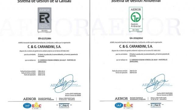 Carandini - Norma ISO – sostenibilidad – certificación - medioambiente