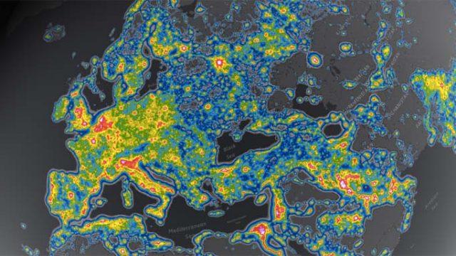 LED, Atlas mundial de la contaminación lumínica - cielos contaminados - contaminación lumínica - iluminación
