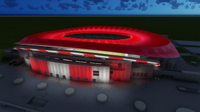 luminaria del Wanda Metropolitano del Atlético de Madrid