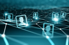 Digital technology background with social networking and interaction concept