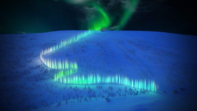 estación de esquí, saariselka, finlandia, aurora boreal, iluminación, LED