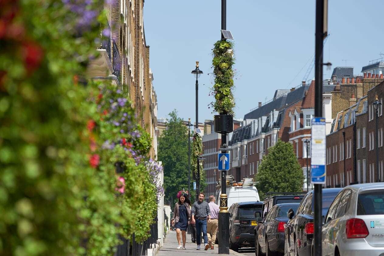 luminarias verdes, luminarias, Londres, alumbrado público