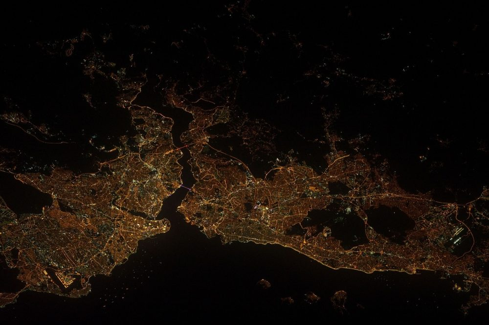 contaminación lumínica, alumbrado público, astronautas, iluminación, estación espacial